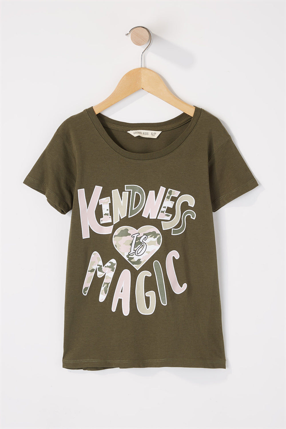 Girls Kindness Camo Glitter Graphic T-Shirt Hunter Green