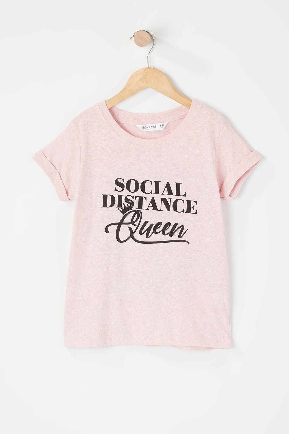 Girls Social Distance Queen Graphic T-Shirt Pink