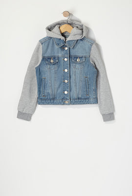 Girls Jersey Hooded Denim Jacket