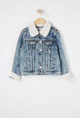 Girls Sherpa Trucker Denim Jacket