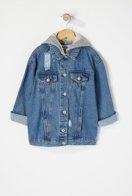 Girls Jersey Distressed Hooded Denim Jacket