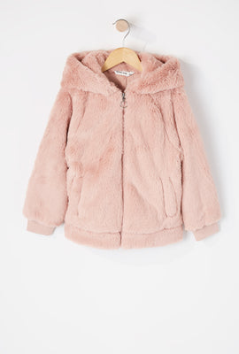 Girls Faux-Fur Zip-Up Hooded Jacket