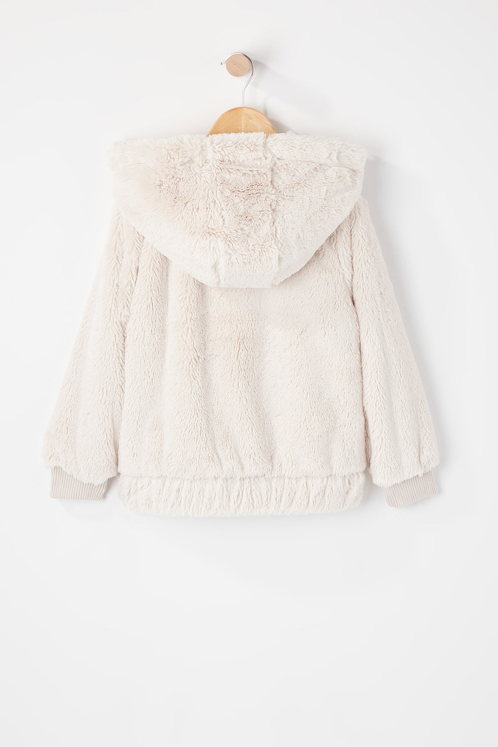Girls Soft Faux-Fur Zip-Up Hooded Jacket Ivory