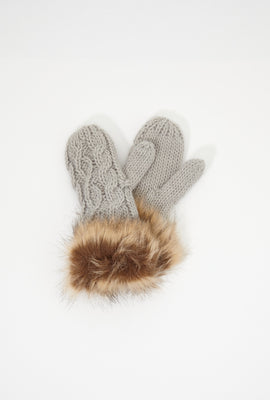 Girls Cable Knit Faux-Fur Mittens
