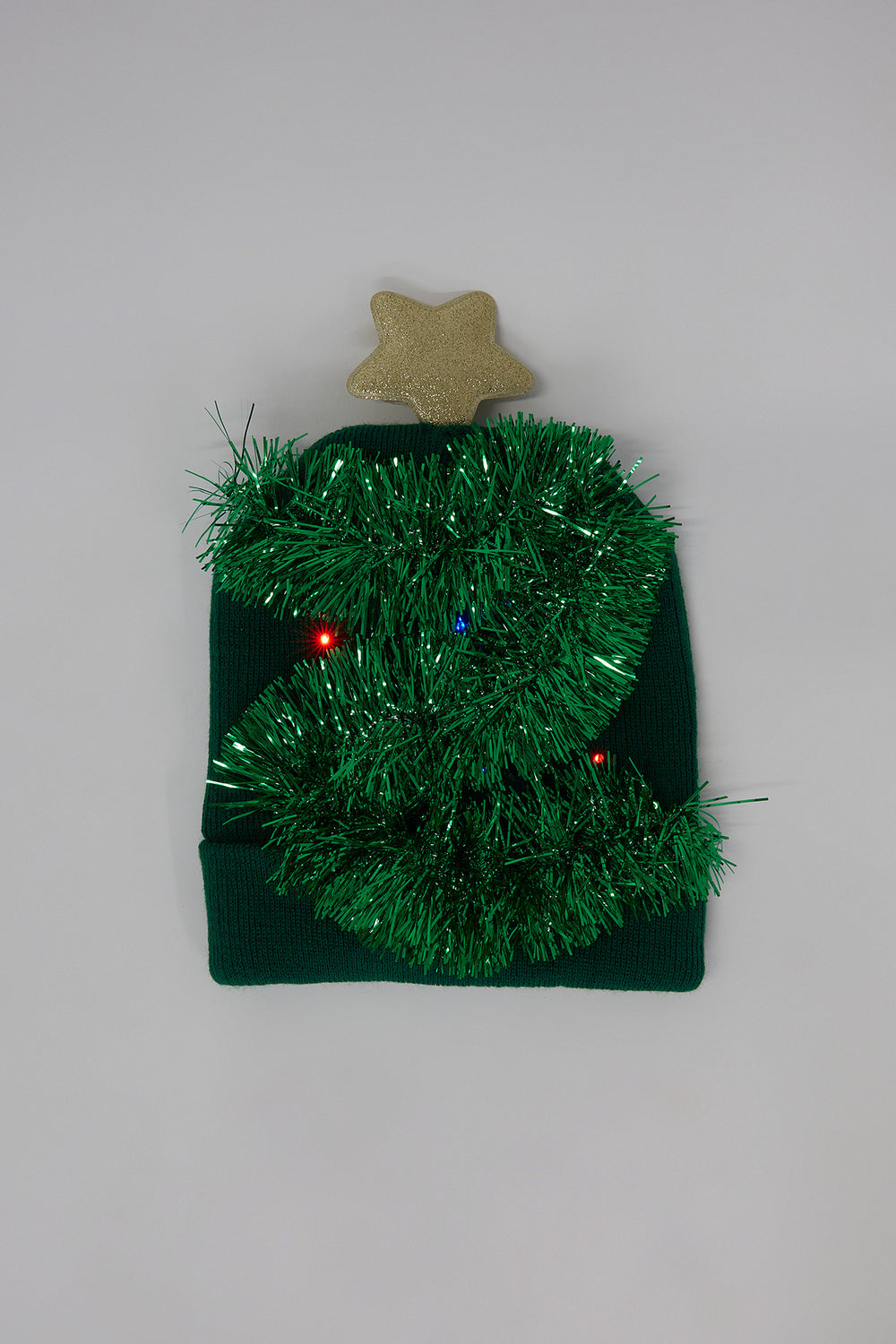 Youth Ugly Christmas 3D Light Up Christmas Tree Beanie Green