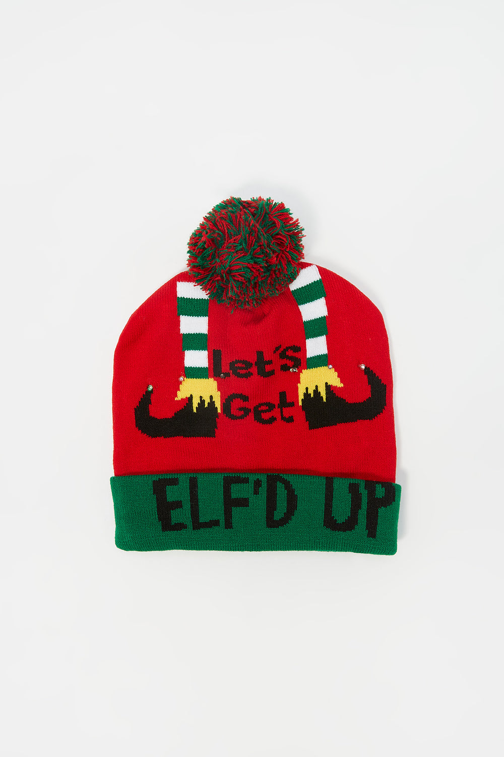 Youth Light-Up Graphic Elf'd Up Ugly Christmas Beanie Assorted