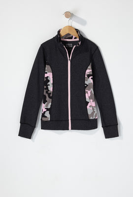 Girls Colour Block Zip-Up Active Jacket