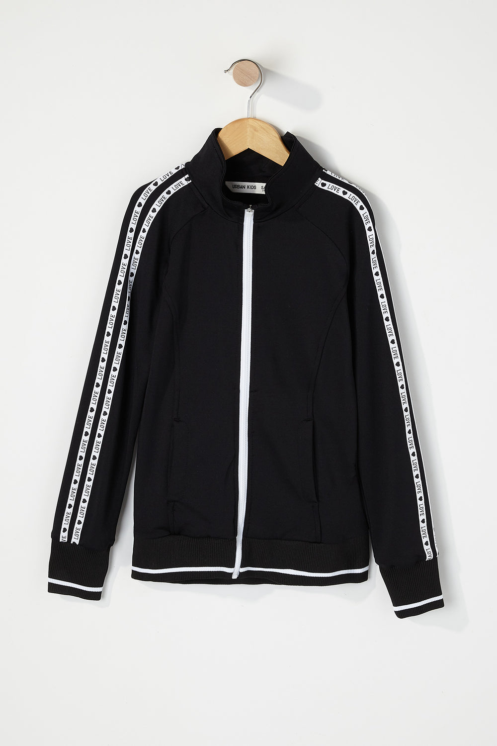Girls Graphic Side Zip-Up Track Jacket Black