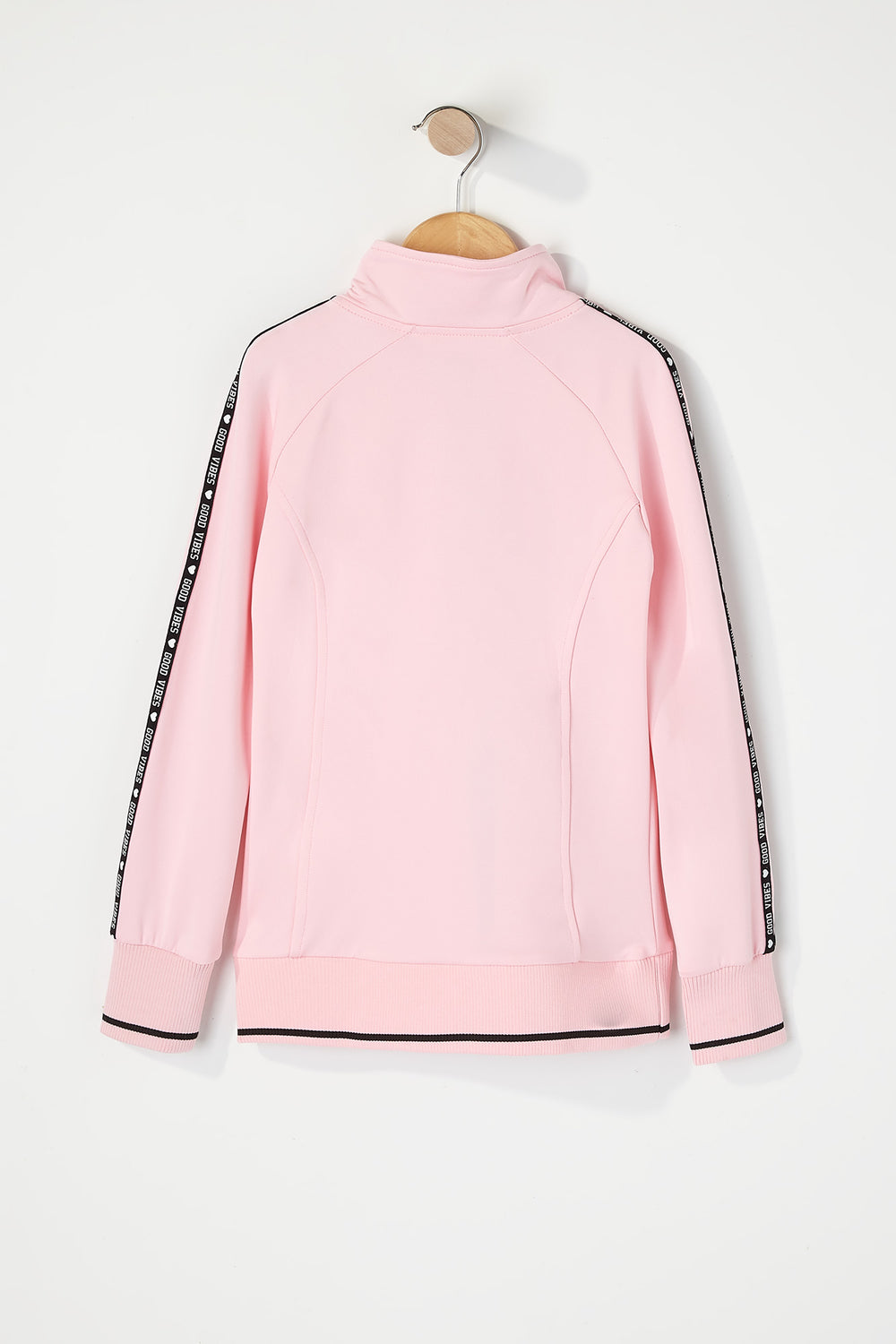 Girls Graphic Side Zip-Up Track Jacket Pink