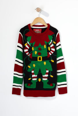 Youth Elf Light Up Ugly Christmas Sweater