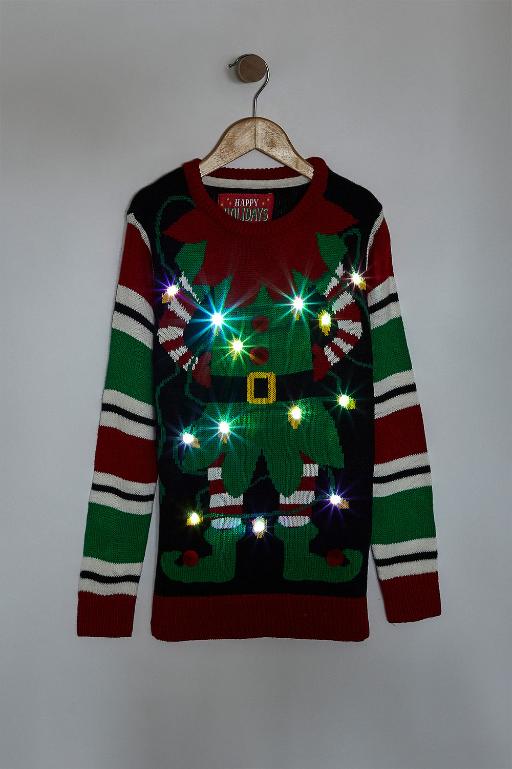 Youth Elf Light Up Ugly Christmas Sweater Black