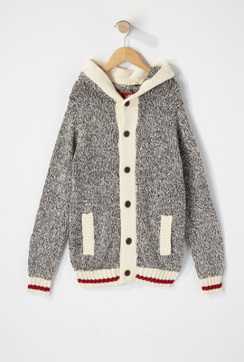 Boys Cabin Fever Salt and Pepper Button-Up Hooded Sweater