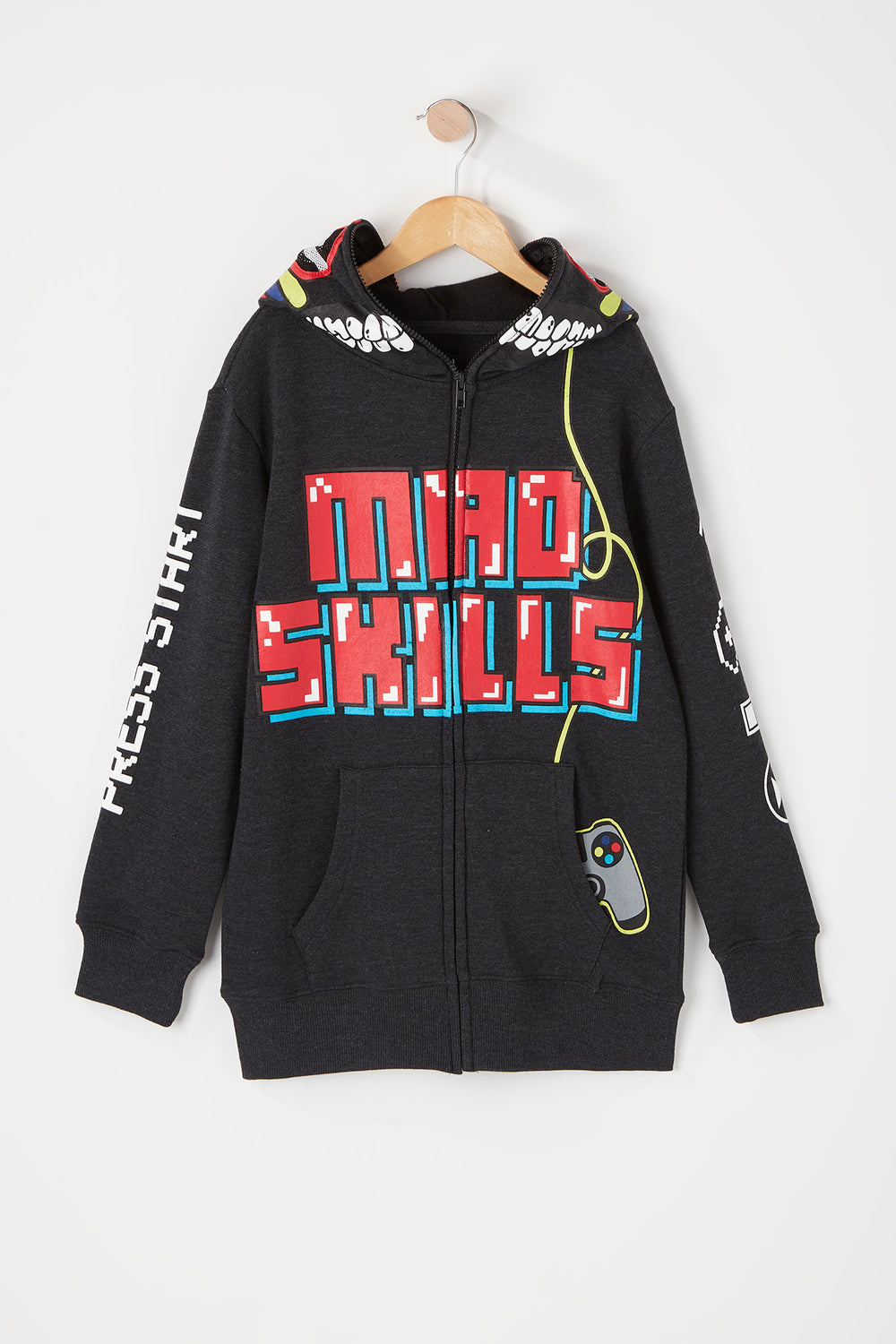 Boys Mad Skills Gamer Peeper Hoodie Charcoal