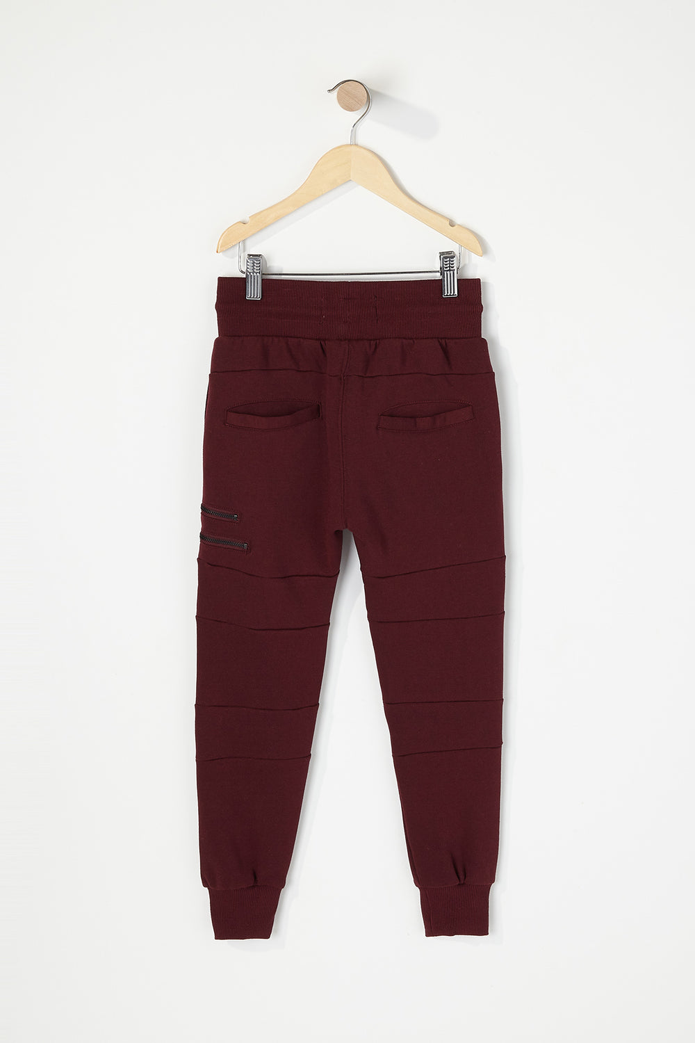 Boys Moto Zip Jogger Burgundy