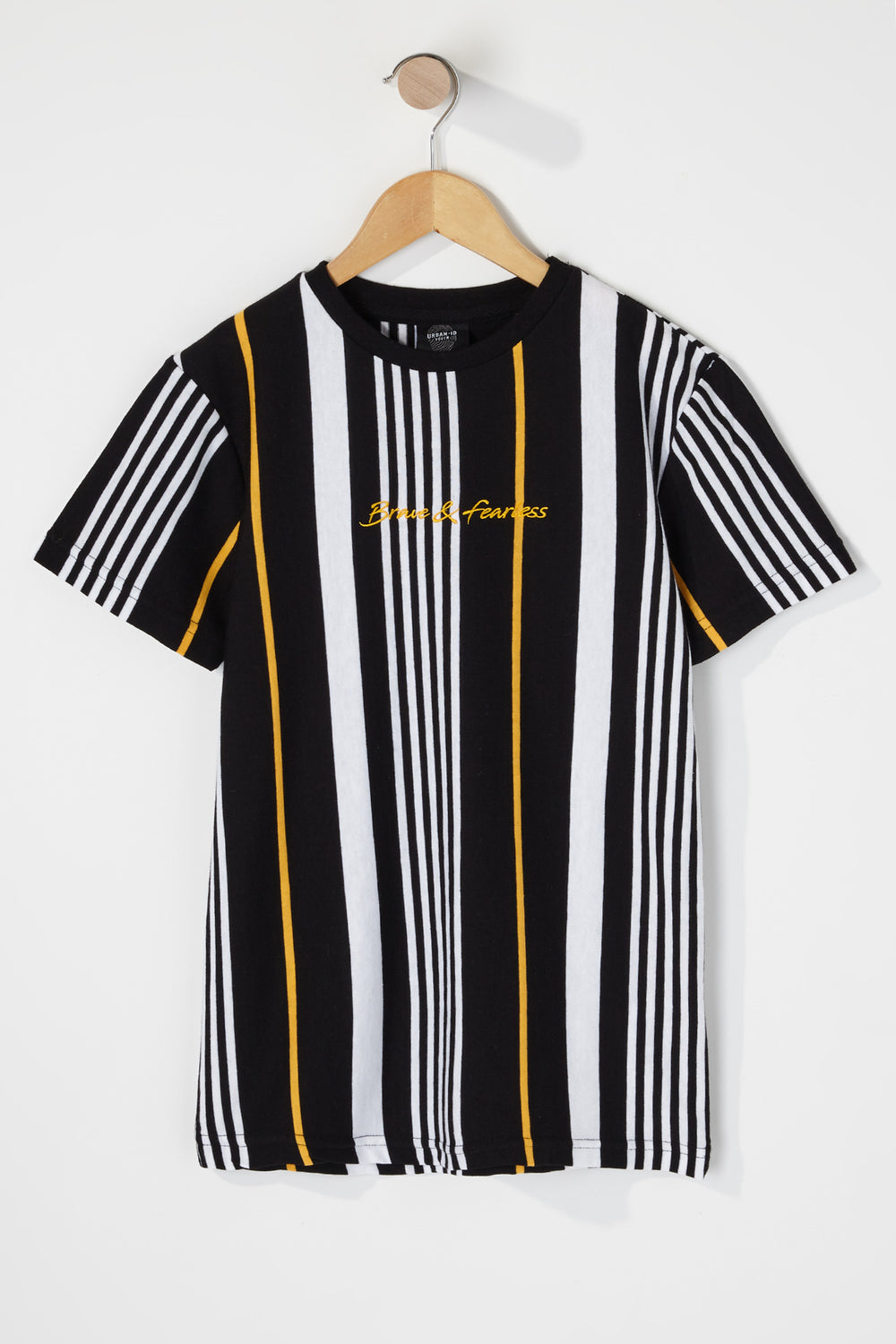 Boys Multi Striped Embroidered T-Shirt Black