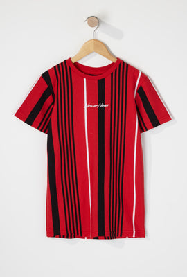 Boys Multi Striped Embroidered T-Shirt