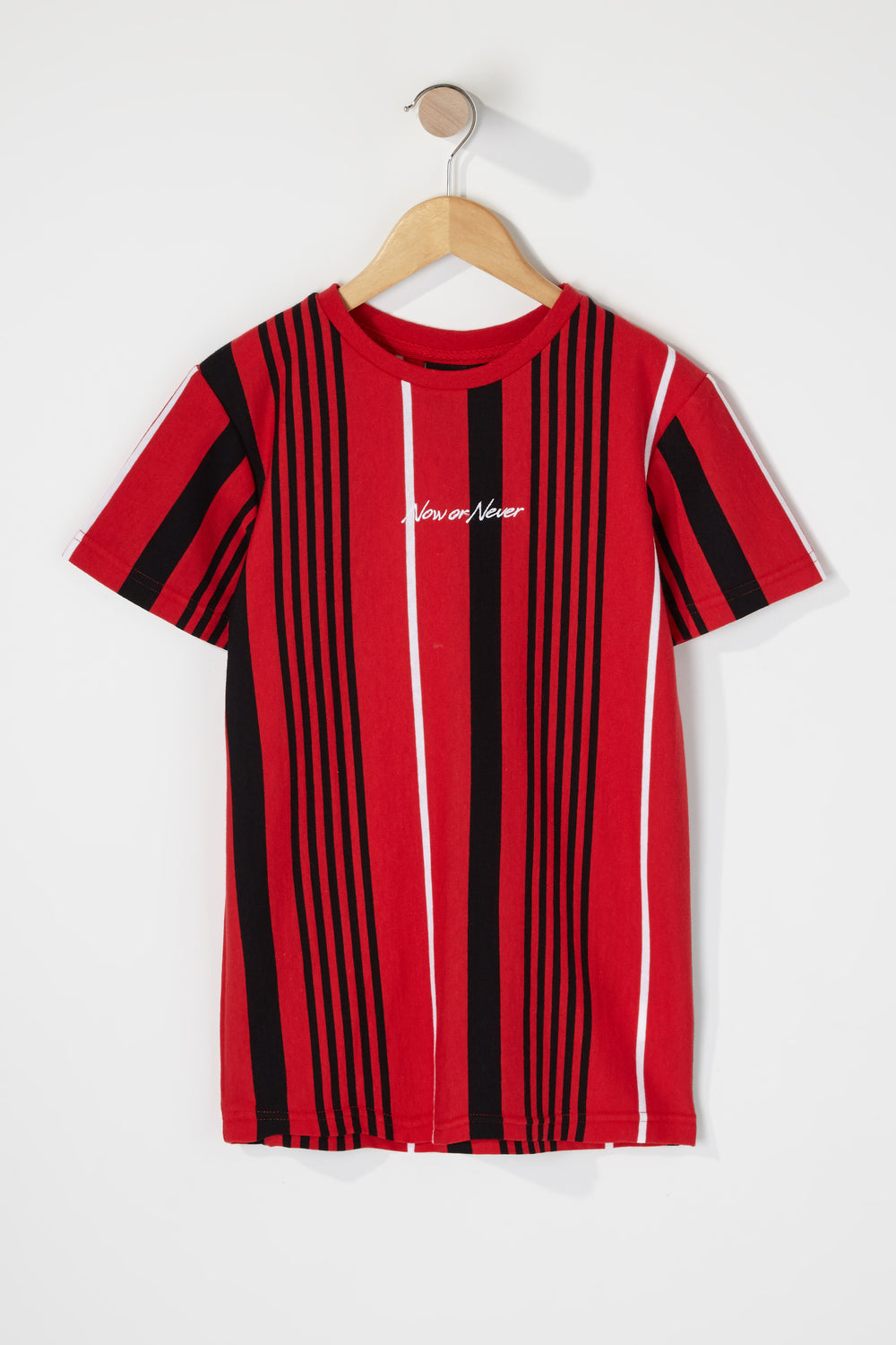 Boys Multi Striped Embroidered T-Shirt Red