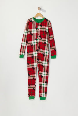 Youth Fammy Jammies Moose Christmas Plaid Onesie