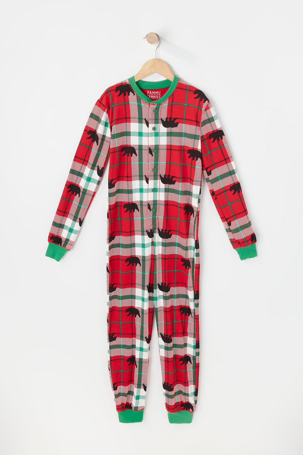 Youth Fammy Jammies Plaid Printed Have A Beary Christmas Graphic Onesie Red
