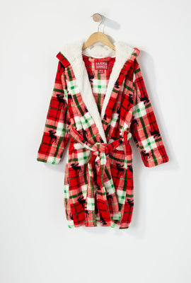 Youth Fammy Jammies Moose Christmas Plaid Sherpa Robe