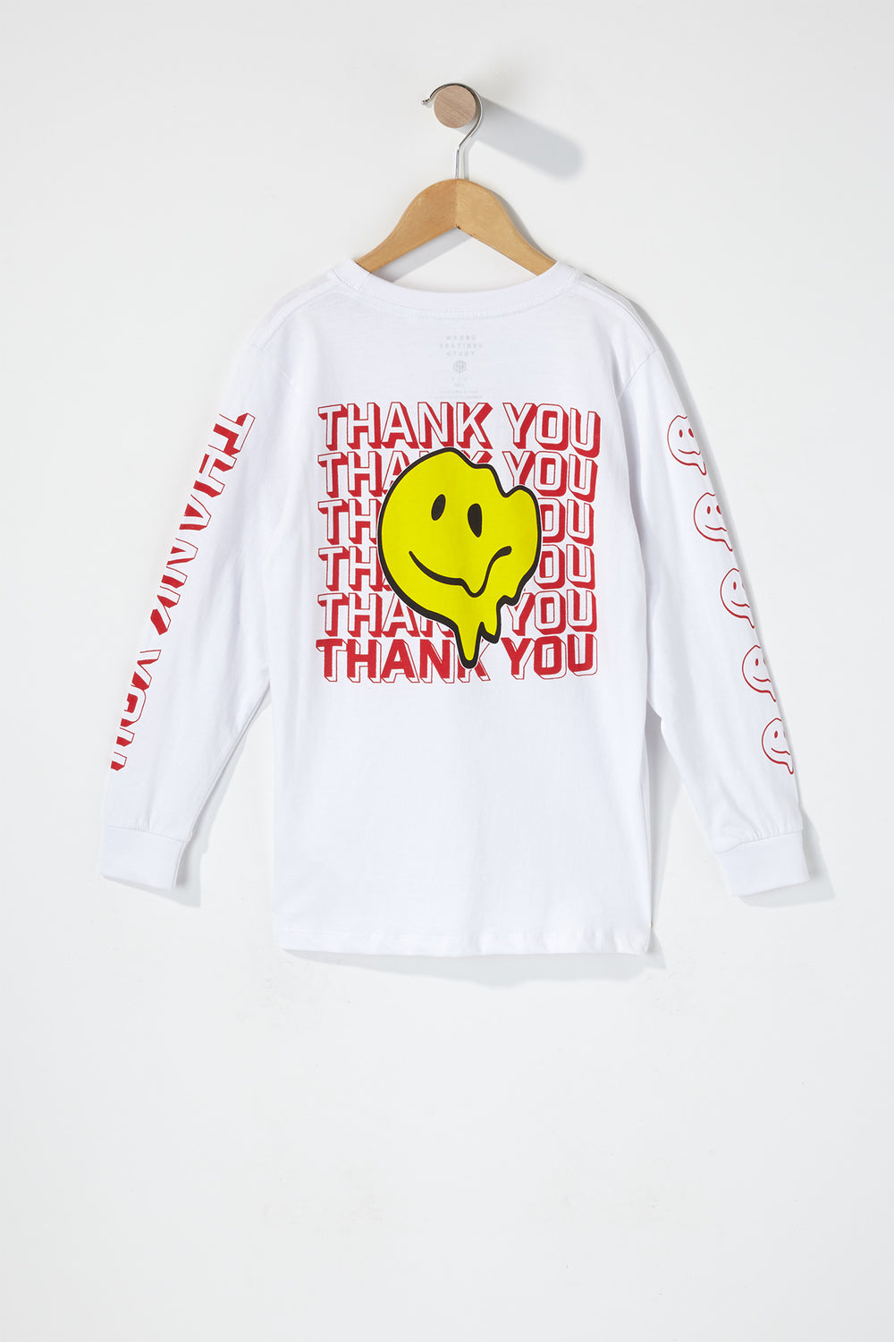 Boys Thank You Smiley Long Sleeve White