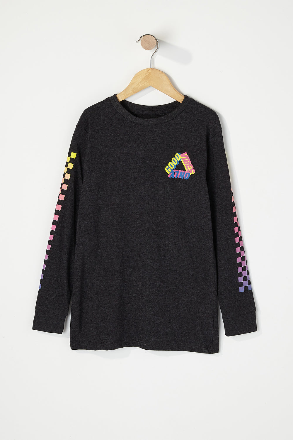 Boys Good Vibes Graphic Long Sleeve Charcoal