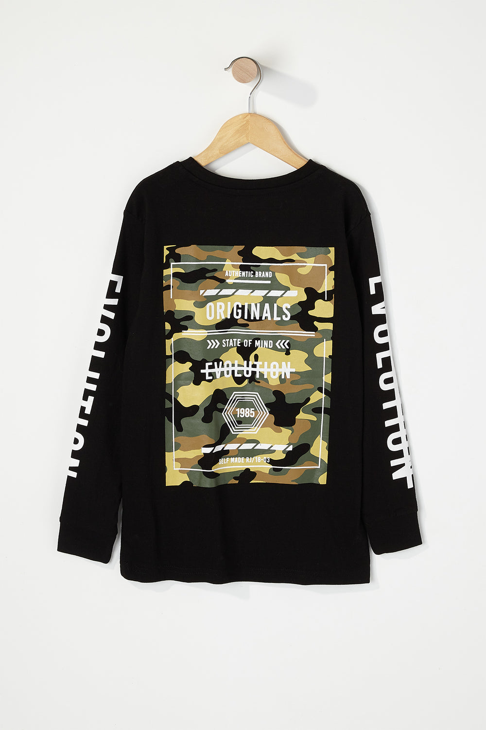 Boys Originals Camo Graphic Long Sleeve Black