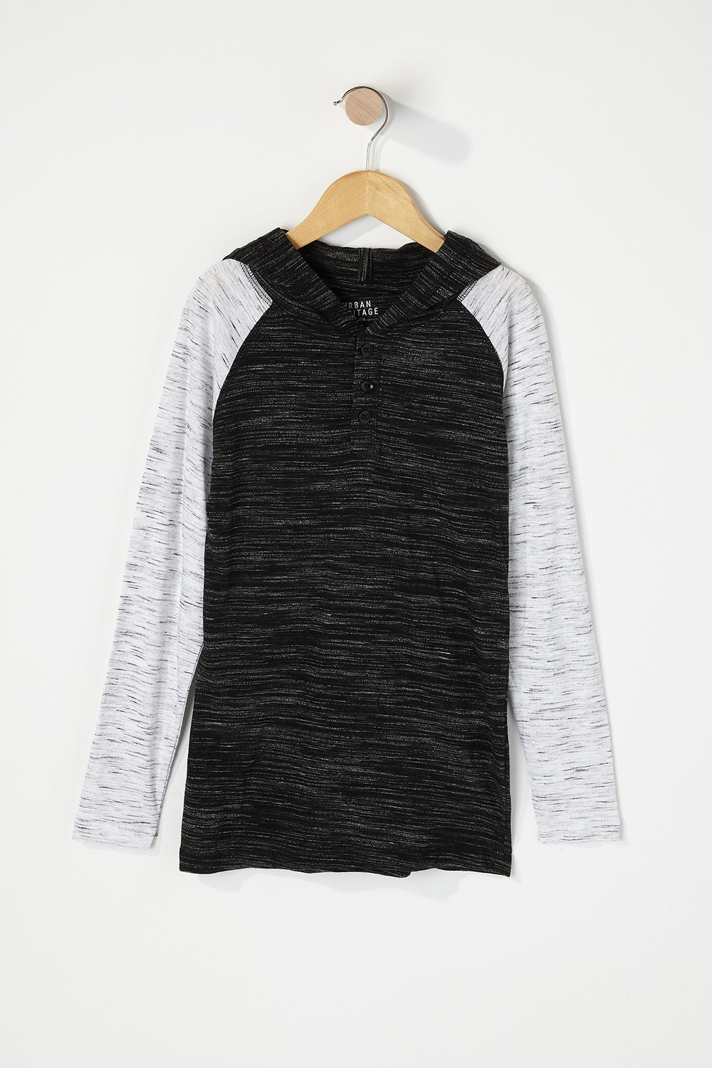 Boys Space Dye Contrast Henley Hooded Long Sleeve Black