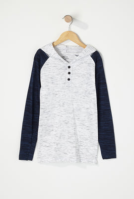 Boys Space Dye Contrast Henley Hooded Long Sleeve