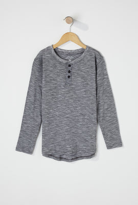 Boys Space Dye Henley Long Sleeve