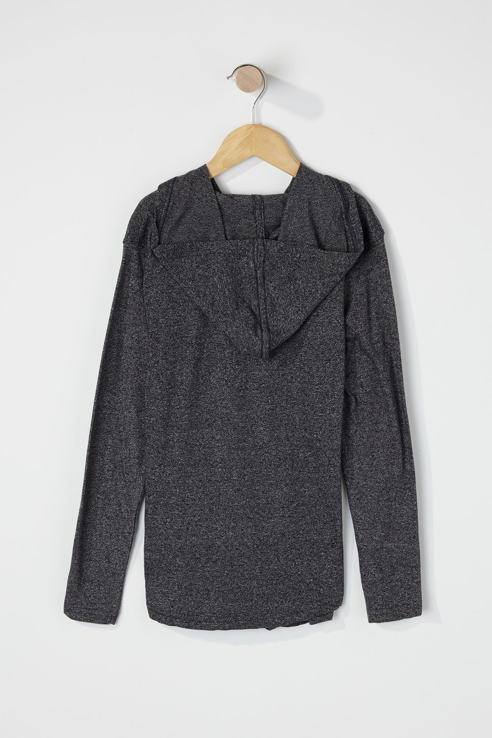 Boys Speckled Hooded Long Sleeve Charcoal