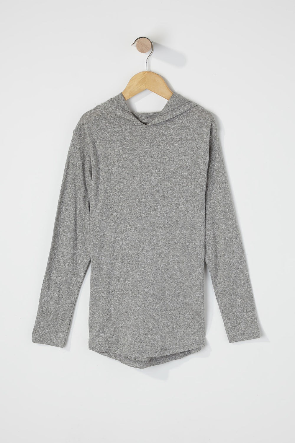 Boys Speckled Hooded Long Sleeve Heather Grey