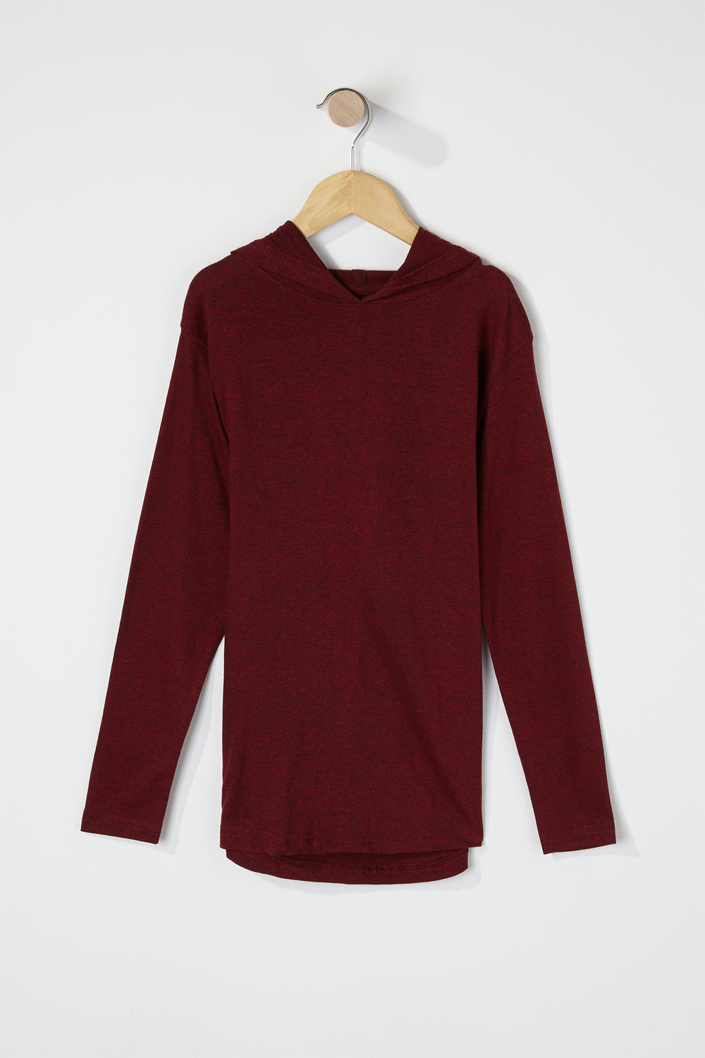 Boys Speckled Hooded Long Sleeve Burgundy