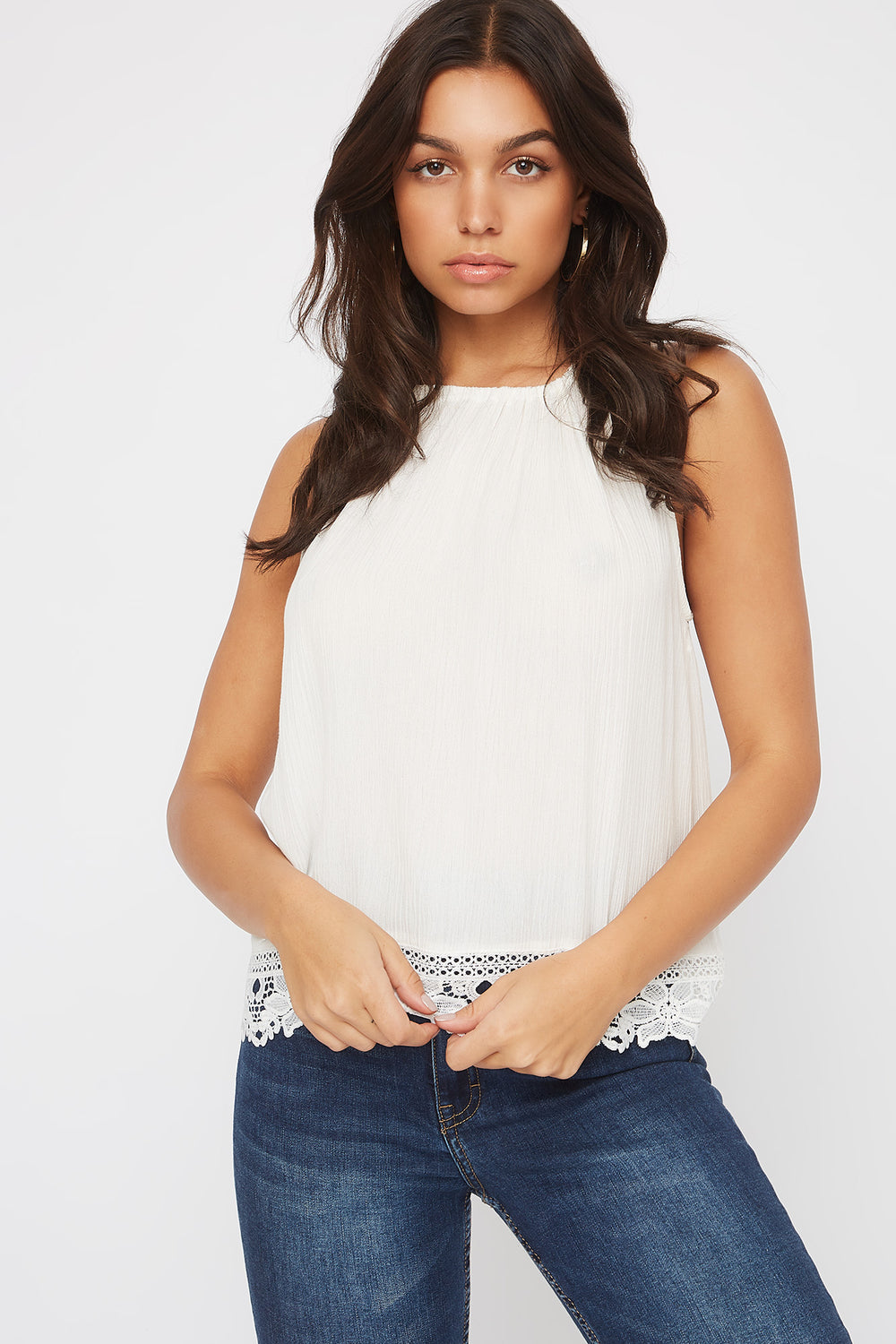 Halter Crochet Trim Self Tie Top Off White