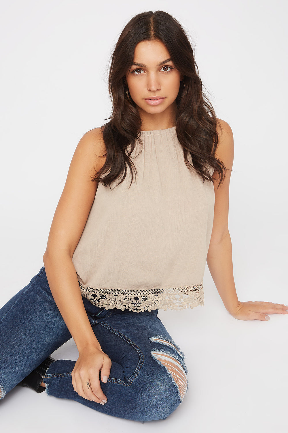 Halter Crochet Trim Self Tie Top Brown