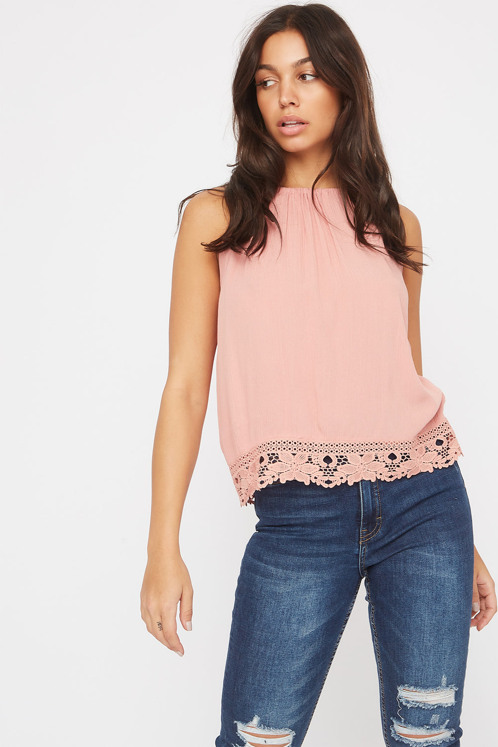 Halter Crochet Trim Self Tie Top Mauve