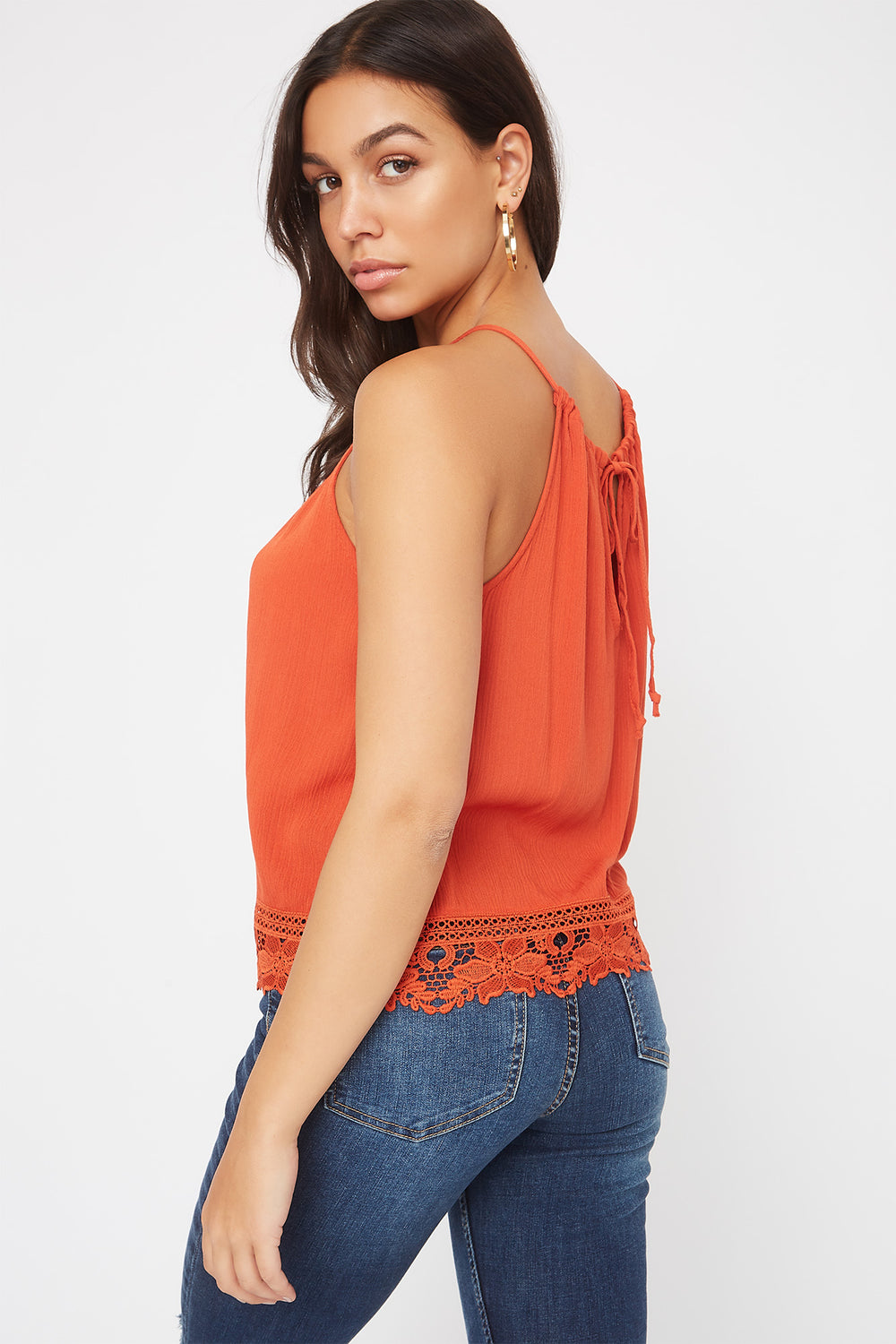 Halter Crochet Trim Self Tie Top Rust