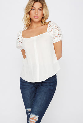 Eyelet Puff Sleeve Button Blouse