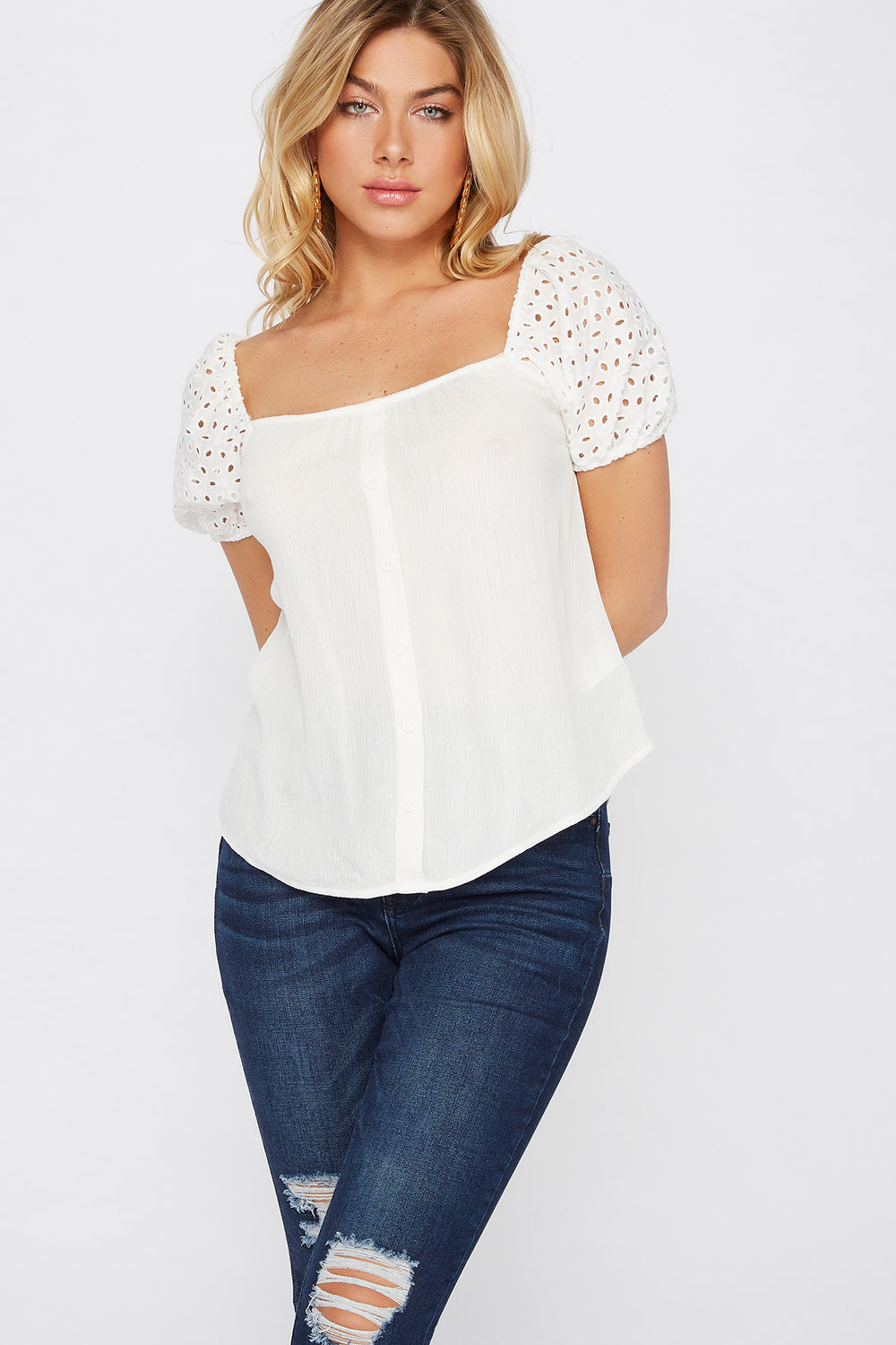 Eyelet Puff Sleeve Button Blouse Off White