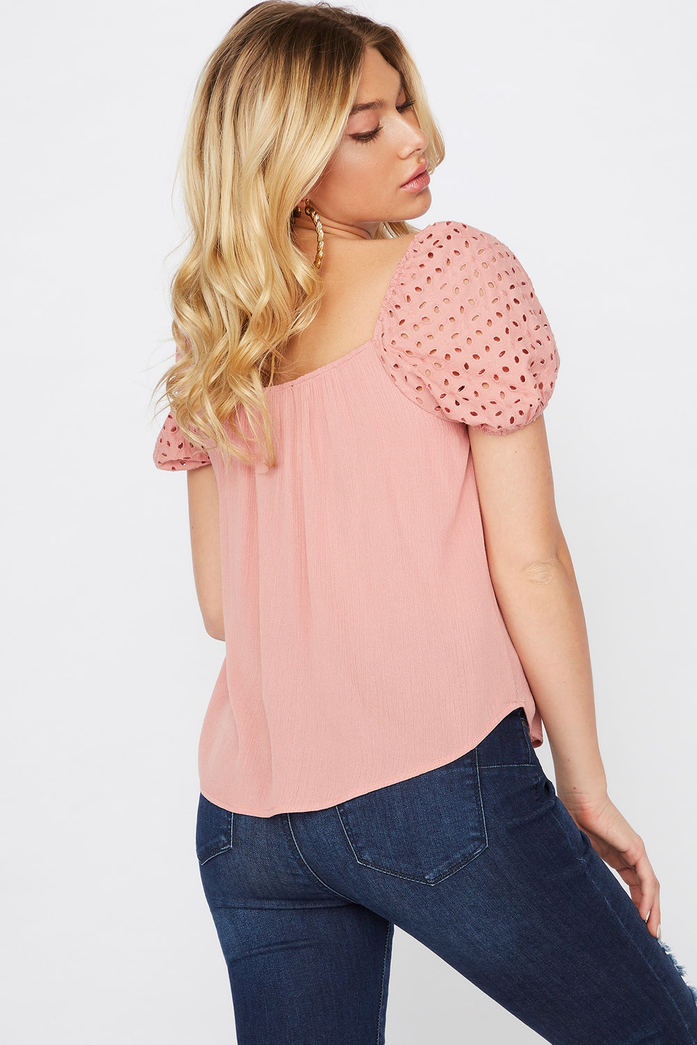 Eyelet Puff Sleeve Button Blouse Mauve