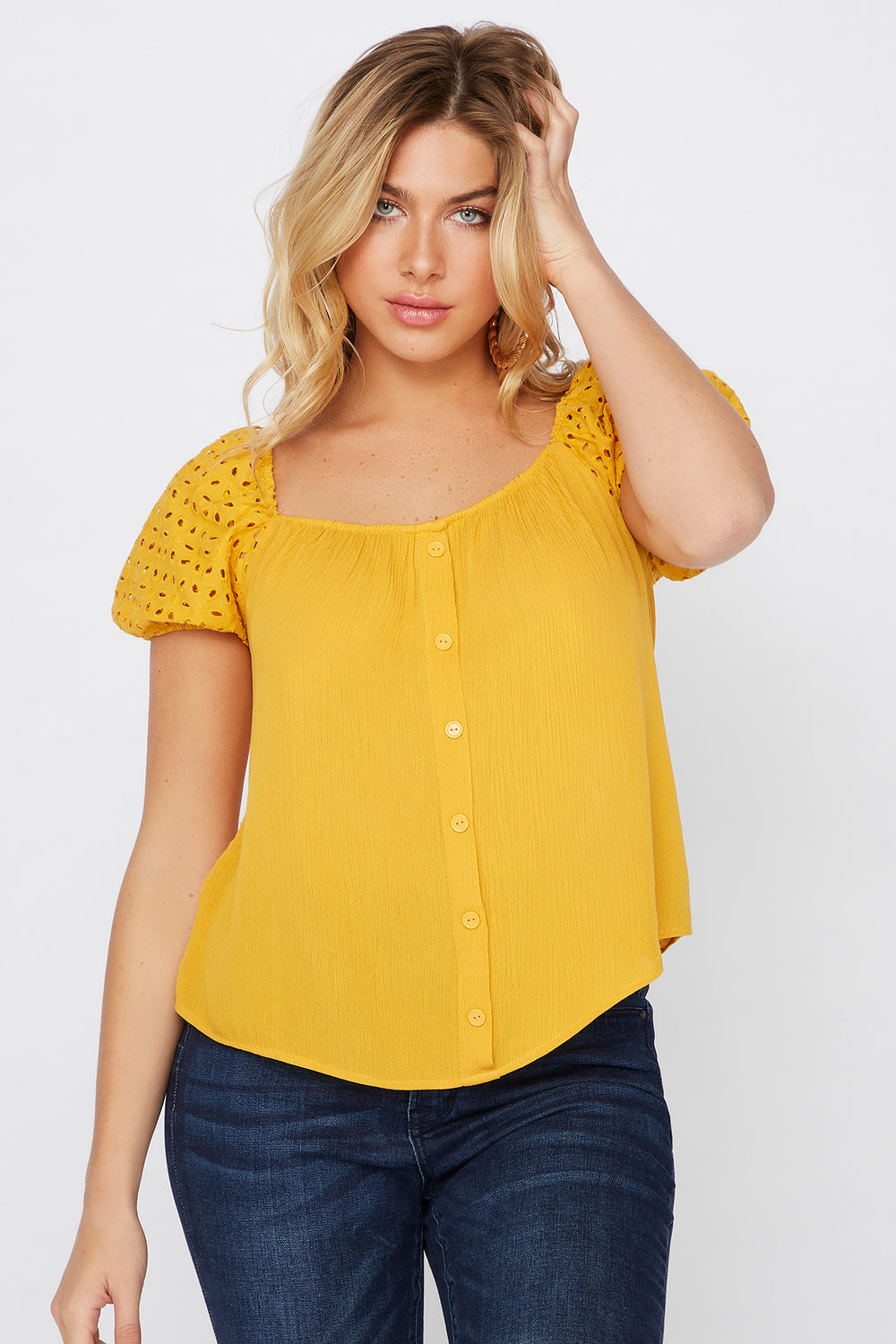 Eyelet Puff Sleeve Button Blouse Mustard