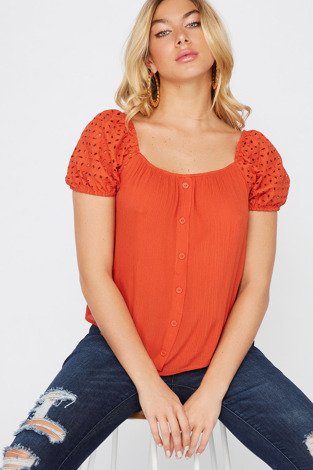 Eyelet Puff Sleeve Button Blouse Rust