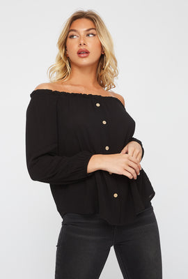 Off the Shoulder Horn Button Blouse