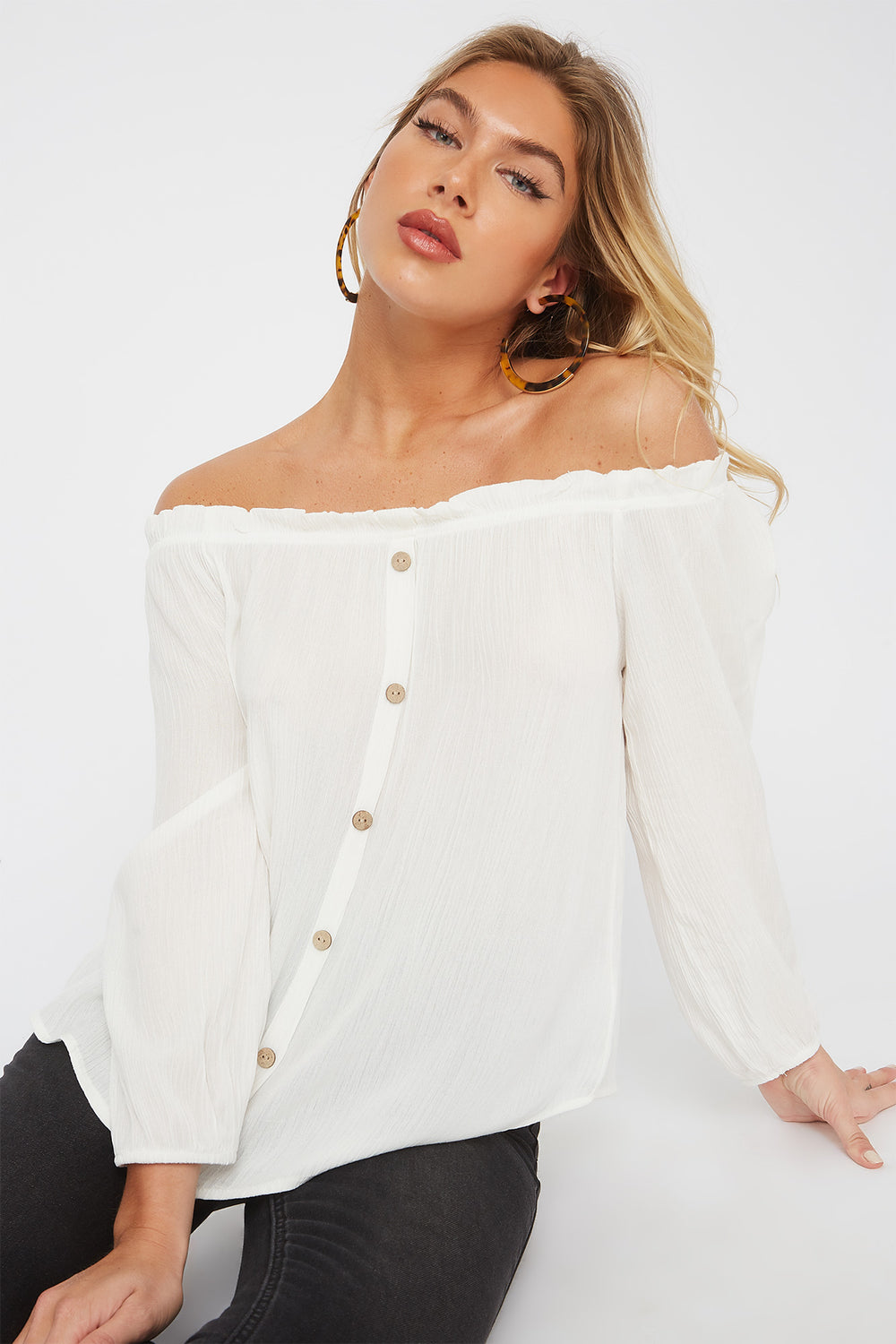 Off the Shoulder Horn Button Blouse Off White