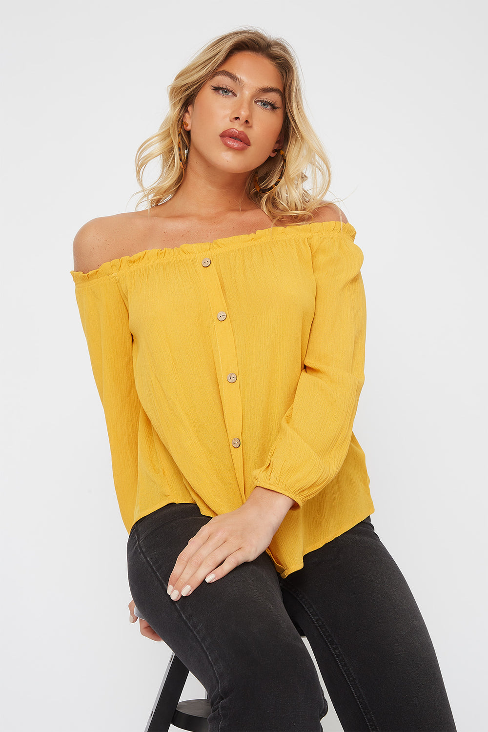 Off the Shoulder Horn Button Blouse Mustard