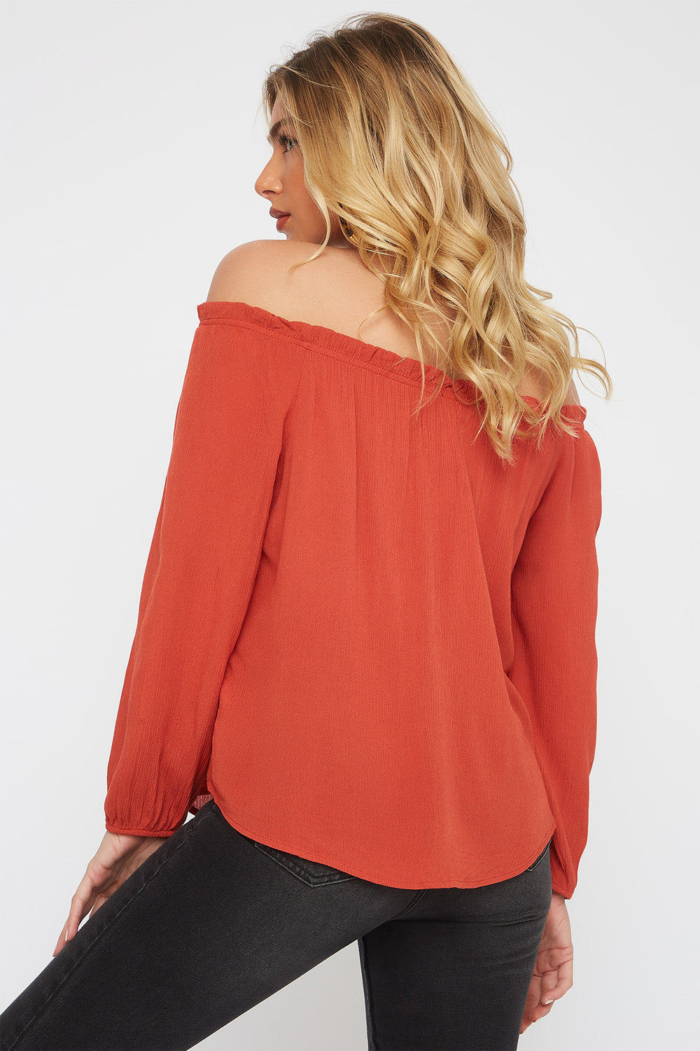Off the Shoulder Horn Button Blouse Rust