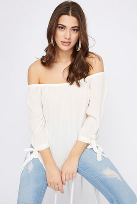 Off the Shoulder Self-Tie Long Sleeve Blouse