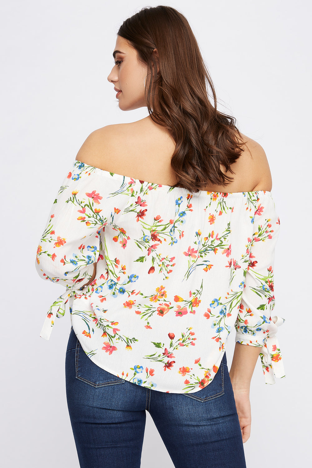 Printed Off the Shoulder Self-Tie Long Sleeve Blouse Off White