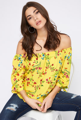 Printed Off the Shoulder Self-Tie Long Sleeve Blouse