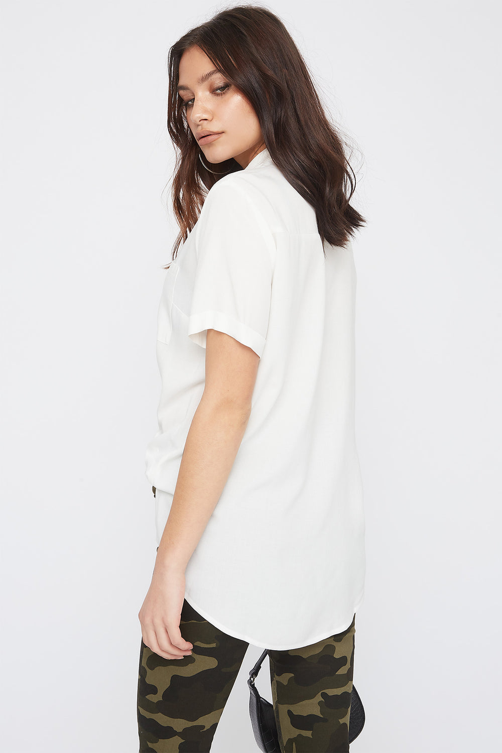 Button-Up Short Sleeve Shirt Off White